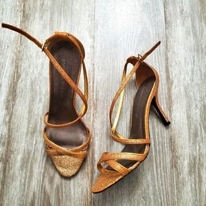 ADRIENNE MALOOF Glittery Gold Strappy Sandals